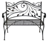 Metal Folding Bench with Bird Motif