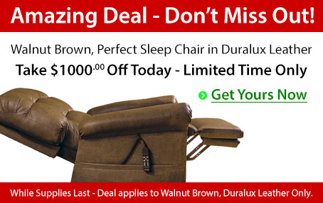 The Perfect Sleep Chair - DuraLux Leather Lift Chair - Walnut Brown